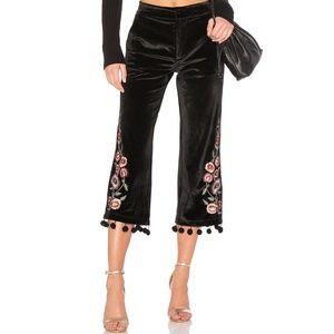 Tularosa Huntington Pants Black Velvet Pom Pom